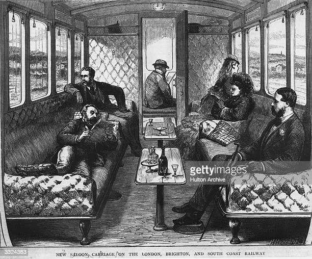 Men and women enjoying their journey in the saloon carriage on the London Brighton and South Coast railway Original Publication The Graphic