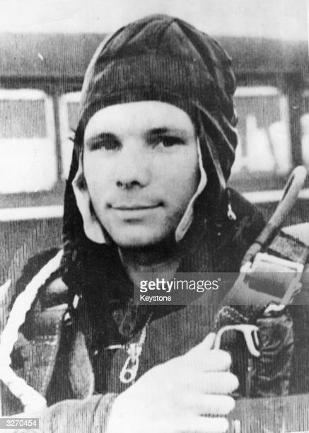 Russian astronaut Yuri Gagarin the first man to travel in space He completed an orbit of the earth in the 'Vostock' spaceship satellite