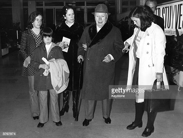 Charlie Chaplin arriving in Nice to spend the Easter holidays with his wife Oona and his three youngest children Annette Christopher and Jane