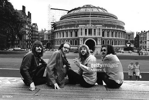 Progressive British rock band Soft Machine outside the Albert Hall in London where they will perform their own forty minute set during a special late...