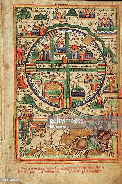 12th century map of Jerusalem and Palestine including the sacred sites and the Temple of Solomon