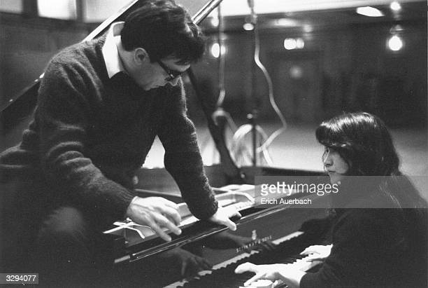 Italian conductor Claudio Abbado with pianist Martha Argerich