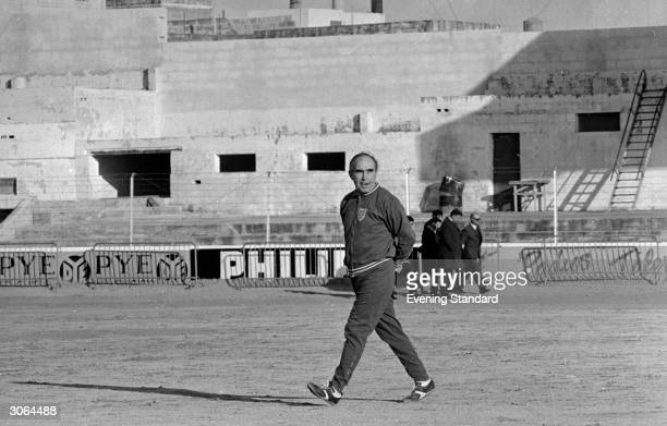 Sir Alf Ramsey the manager of the England football team during a training session at the Gzira stadium in Malta