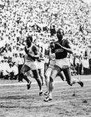 12th July 1936 American athlete Jesse Owens wins the men's 200m event during a track meet New York City