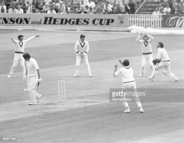 England's Graham Gooch after being caught behind the wicket in his firstever test match
