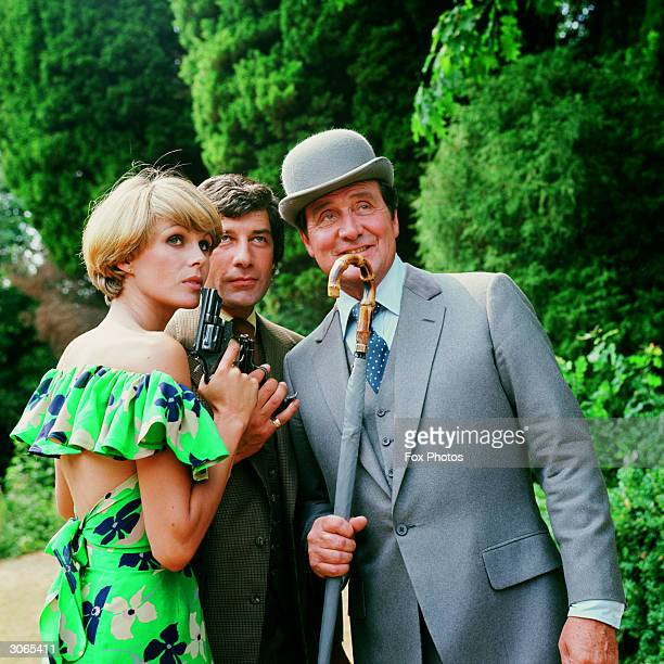 Purdey Steed and Gambit played by Joanna Lumley Patrick MacNee and Gareth Hunt at Pinewood Studios London for filming of the television series 'The...