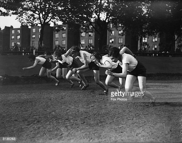The Middlesex Ladies Athletics Club racing at Paddington Rec London