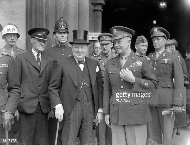 General Dwight D Eisenhower commander of the Allied forces in Europe during World War II in London with British Prime Minister Winston Churchill...