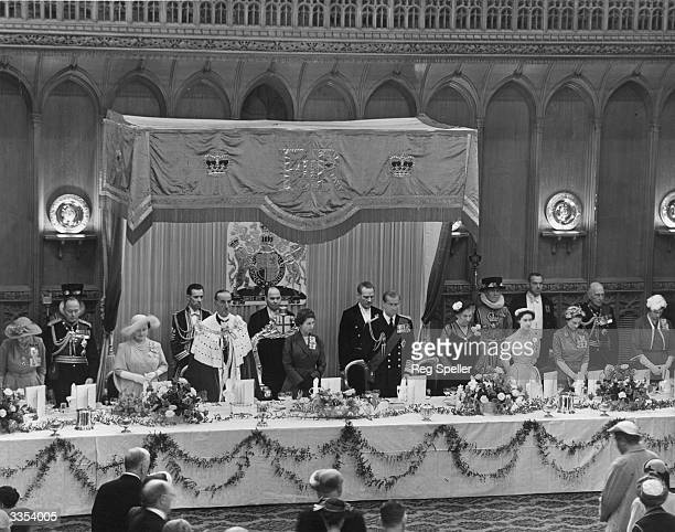 A Royal lunch in the Guildhall London attended by Henry Duke of Gloucester Queen Elizabeth The Queen Mother The Lord Mayor Queen Elizabeth II The...