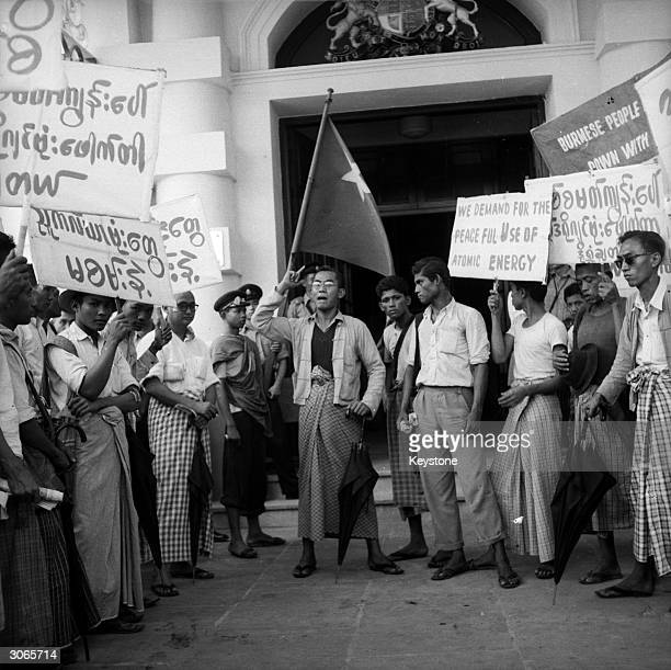 Members of the World Peace Congress of Rangoon outside the British Embassy in Rangoon during a protest at British nuclear testing