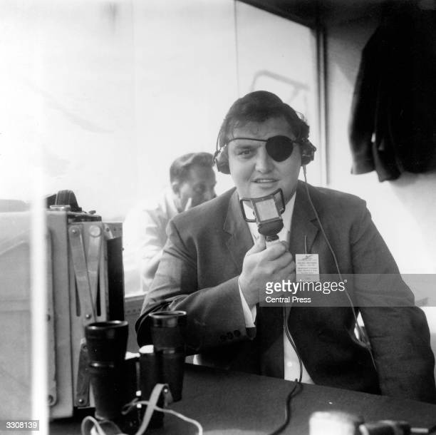 English cricketer Colin Milburn commentating on a test match at Old Trafford Manchester for the BBC He lost the sight of one eye in a car accident