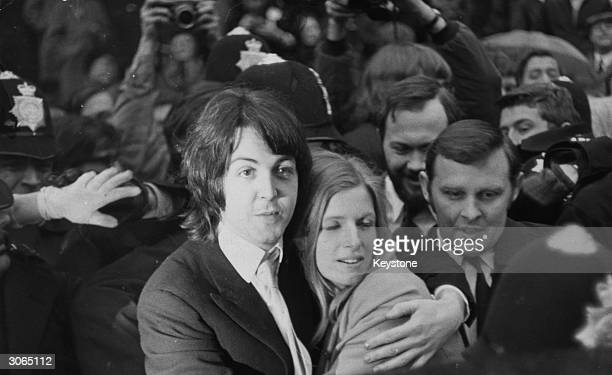 Paul McCartney the last bachelor in the Beatles outside Marylebone register office with American photographer Linda Eastman shortly after their...