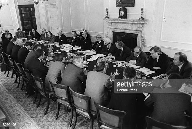 British prime minister James Callaghan and his cabinet in session at No 10 Downing Street