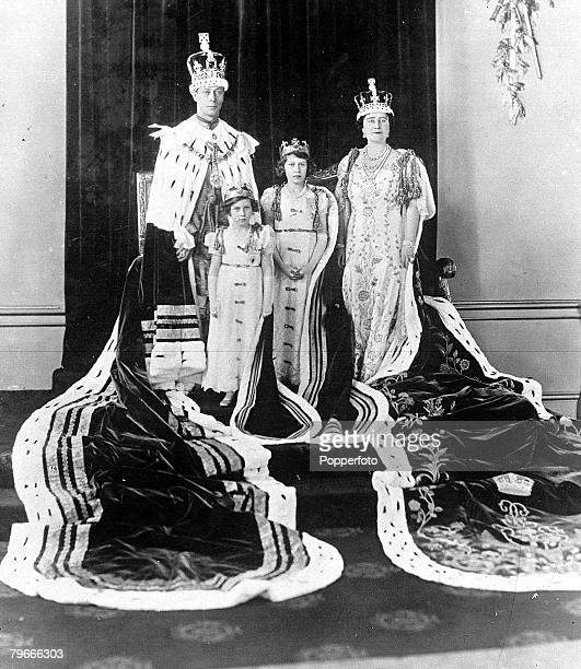 12th May 1937 London England King George VI and Queen Elizabeth later the Queen Mother are pictured with Princess Elizabeth later Queen Elizabeth II...