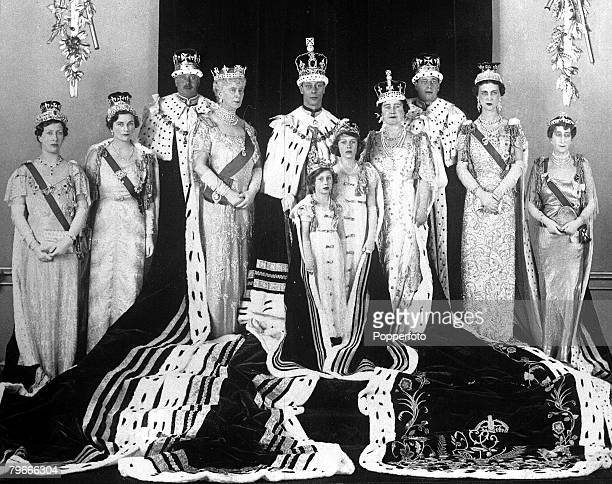 12th May 1937 London England The Royal Family pose for a formal group photograph in their coronation robes for the coronation of King George VI and...