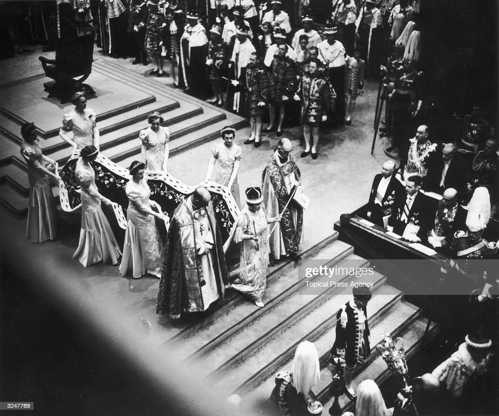 Queen Elizabeth, consort of King George VI, leaves Westminster Abbey after her husband's coronation.