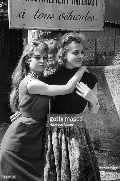 French actress Brigitte Bardot with Isabelle Corey at the Cannes film festival Original Publication Picture Post 8378 Discovery At Cannes pub 1956
