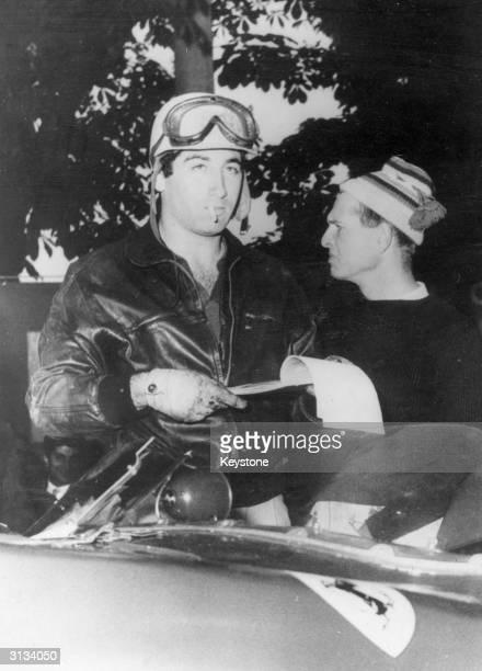 Racing driver Marquis de Portago and on the right Peter Collins before the start of the Mille Miglia Road Race when the tyre on the Marquis's Ferrari...