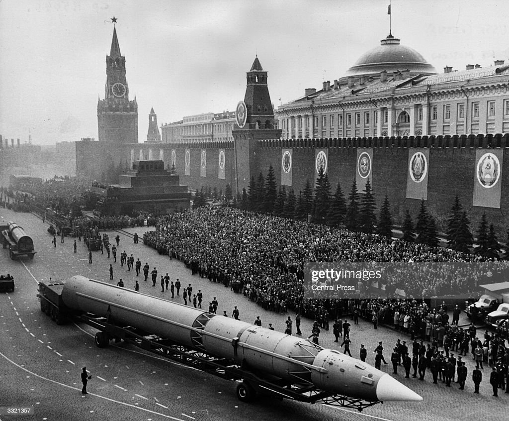 A Russian Intercontinental Missile crossing Red Square during the military parade in Moscow marking the 20th Anniversary of the end of the war in...