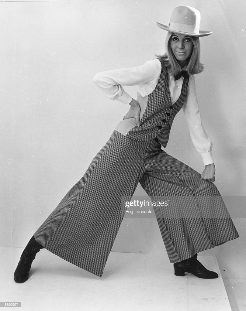 Mary Quant's wide-legged trouser suit with waistcoat and cowboy hat.