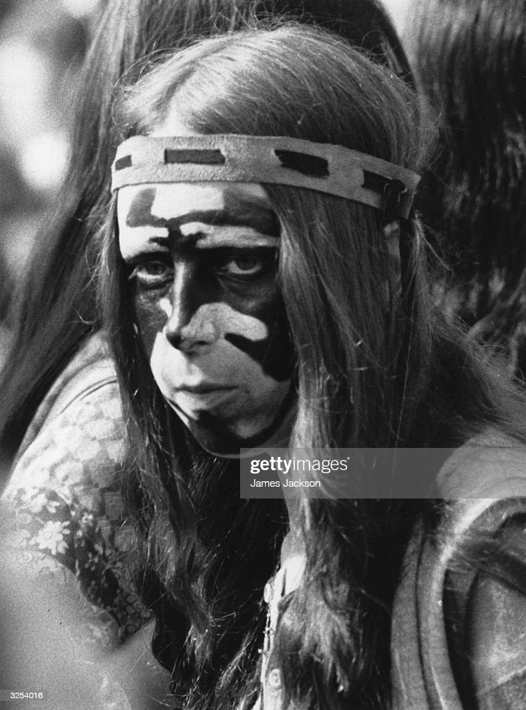 A hippie girl with her face suitably painted at the Oval Pop Concert in 1971.