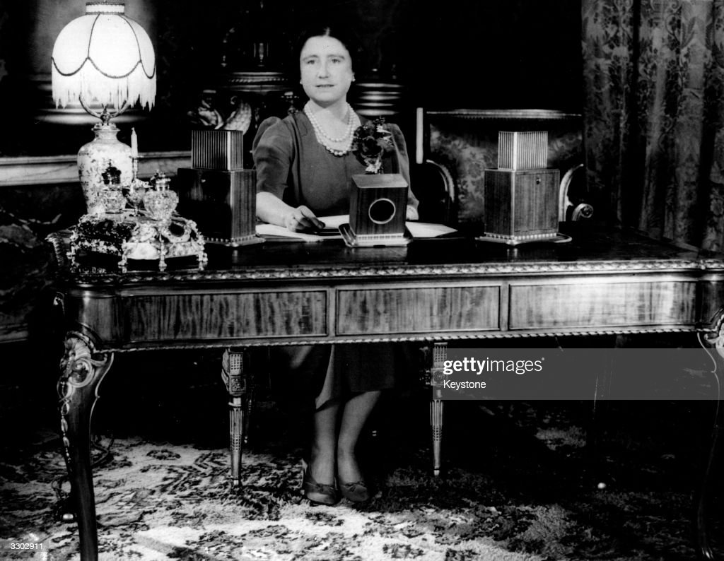 Elizabeth (1900 - 2002), Queen Consort to King George VI ready to make an Armistice Day speech on national radio on Armistice Day, the anniversary of the end of World War I.