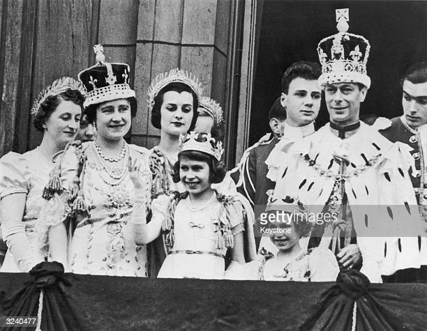 The royal family on the balcony at Buckingham Palace after the coronation of King George VI He is with Queen Elizabeth Princess Elizabeth and...