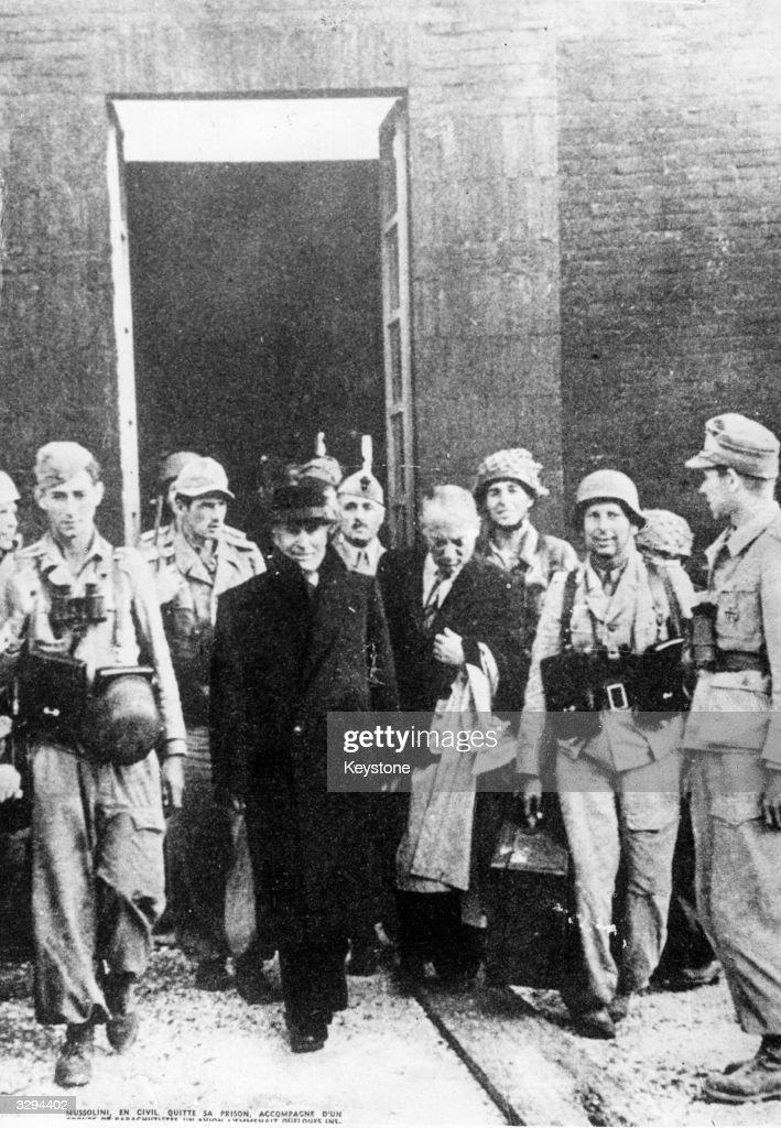Italian Fascist dictator Benito Mussolini leaves his prison, following his liberation by Nazi parachutists.