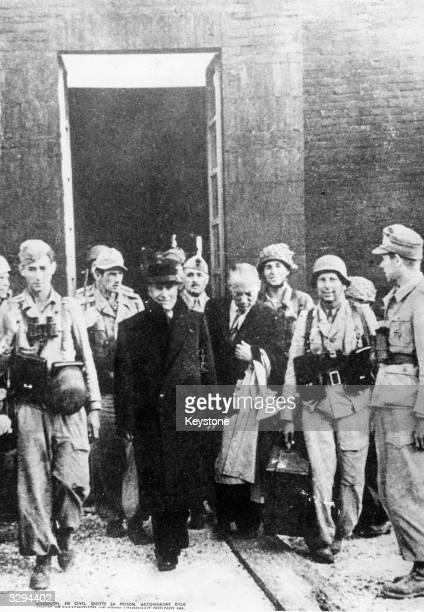 Italian Fascist dictator Benito Mussolini leaves his prison following his liberation by Nazi parachutists