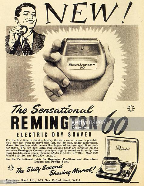 A man using the 'sensational' new Remington 60 electric dry shaver an electric razor which can shave a face in under a minute Original Publication...