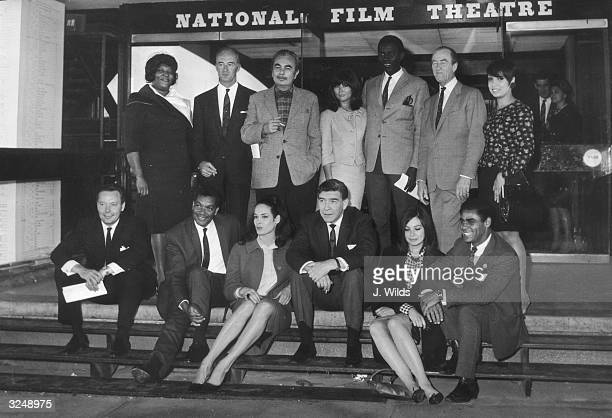 A lineup of international thespians at the National Film Theatre in London during a press preview of the Commonwealth Film Festival From left to...