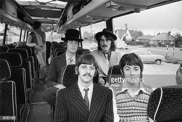 The Beatles travel by coach to the West Country for some location work on 'The Magical Mystery Tour' film Clockwise from back left John Lennon George...