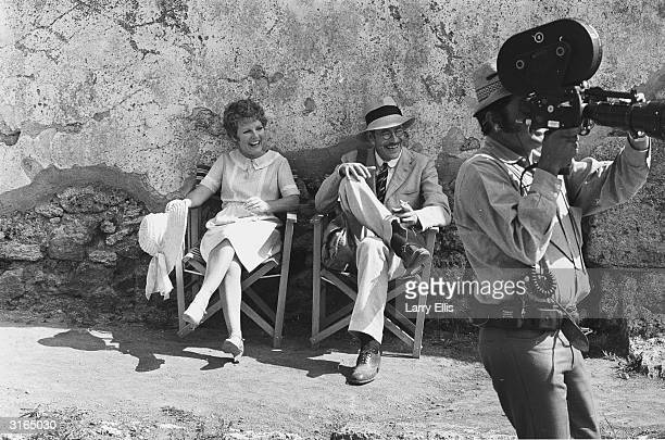 Irish actor Peter O'Toole with his costar the actress and singer Petula Clark in Pompeii during the filming of a musical version of 'Goodbye Mr Chips'