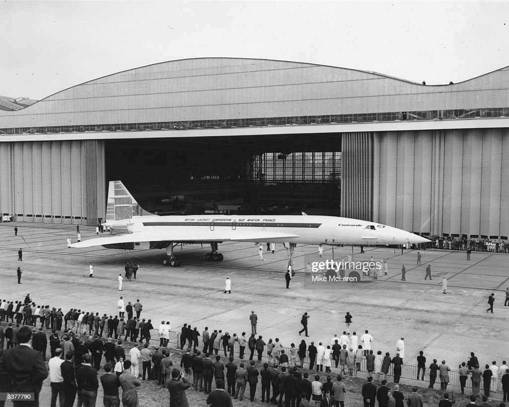 The second Anglo-French supersonic airliner, Concorde 002, rolls out of the British Aircraft Corporation's assembly line at Filton, Bristol, where it was constructed. 002 is identical to Concorde 001, which was assembled in France, containing the same French and British built parts. The plane is expected to be in service by late 1971.