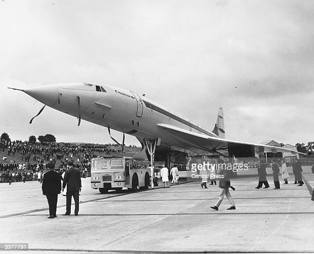 The second AngloFrench supersonic airliner Concorde 002 rolls out of the British Aircraft Corporation's assembly line at Filton Bristol where it was...