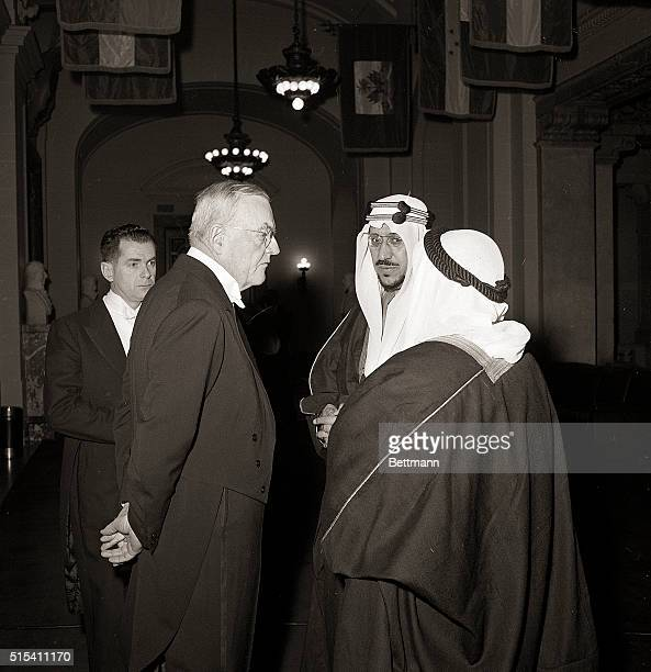 1/31/1957Washington DC John Foster Dulles US Secretary of State and King Abdel Aziz ibn Saud of Arabia in formal attire