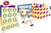13p x 8p Staff color illustration of shoppers frantically rushing to buy boxes of an unknown Internet stock initial purchase offering while boxes of...