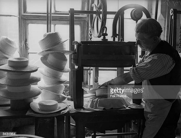 Harrow straw hats produced at Partridge Smith in St Albans Hertfordshire