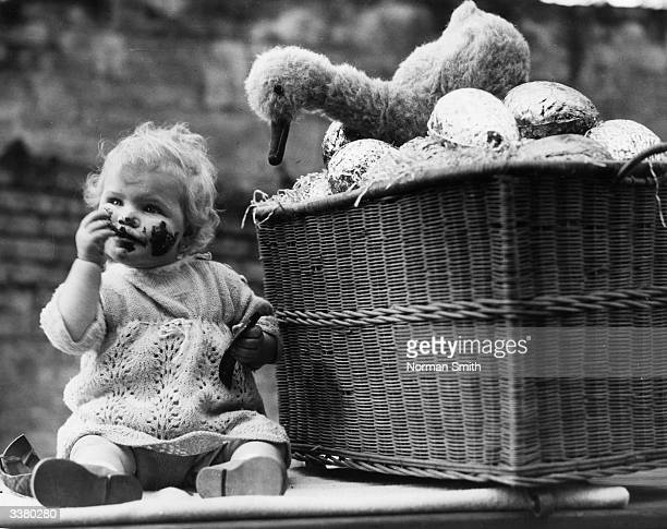 A toddler eating a chocolate easter egg whilst sitting next to a basket of them crowned by a toy duck