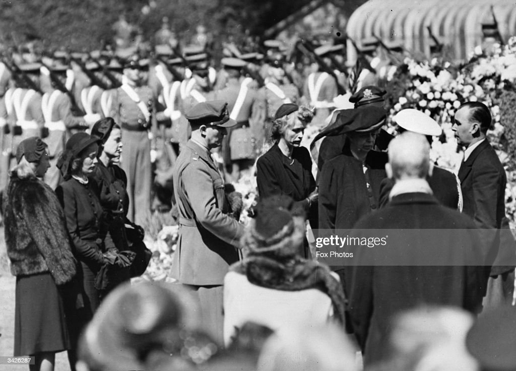 Mourners at the burial service of the former President of the United States, Franklin Delano Roosevelt, in Washington D.C. Left to right, the wives of the President's sons, John, Elliott and Franklin Jnr, the President's daughter Anna Roosevelt, her husband Colonel John Boettiger and Eleanor Roosevelt, the widow of the President.