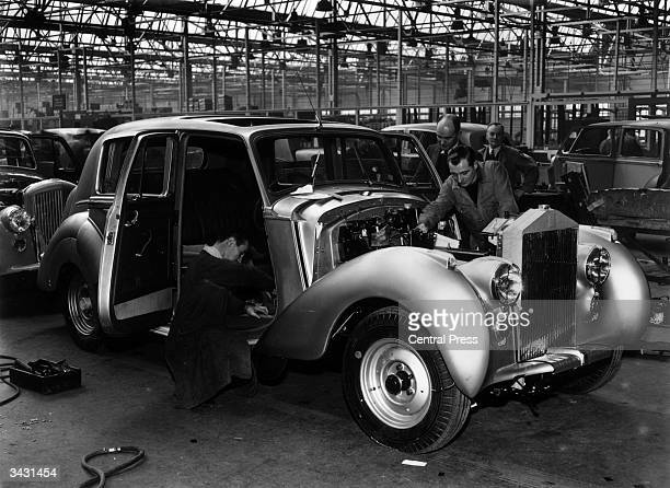 A Rolls Royce 'Silver Dawn' on the assembly line at the Rolls Royce works in Crewe Cheshire