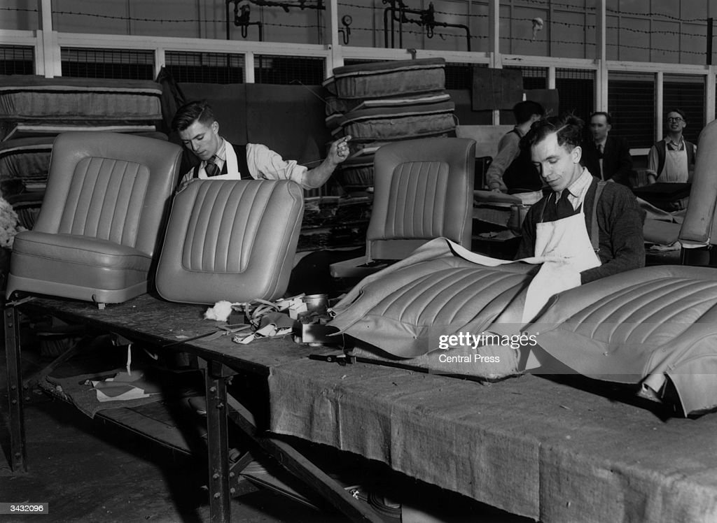 Men at work in the Trimming Shop in the Rolls Royce Factory in Crewe