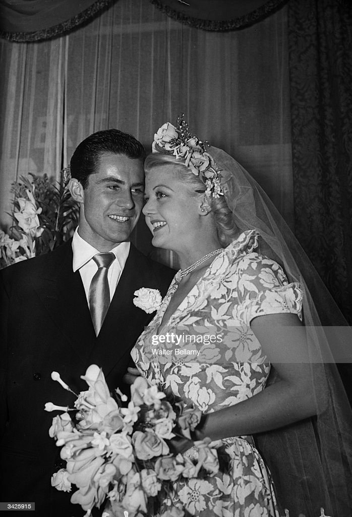 British actress Angela Lansbury and her husband, Peter Shaw, at their wedding.