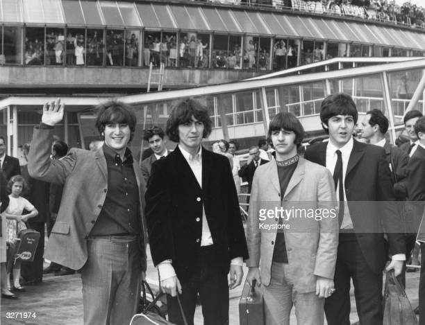 Hundreds of teenagers gather at London Airport to give pop group The Beatles a sendoff before they board an aeroplane to America