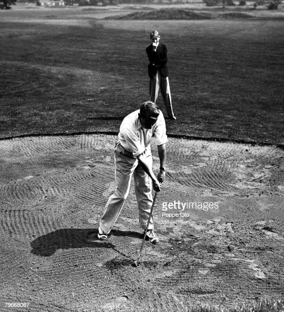 13th August Australian cricketer Don Bradman pictured playing golf at Sudbury golf club Middlesex