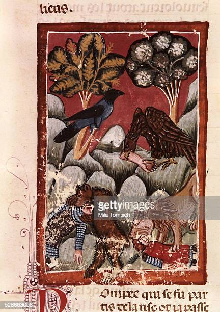 13th Century French Manuscript Page Depicting Buzzards and Wild Animals Feeding on the Bodies of Roman Soldiers Killed in the Battle with the...