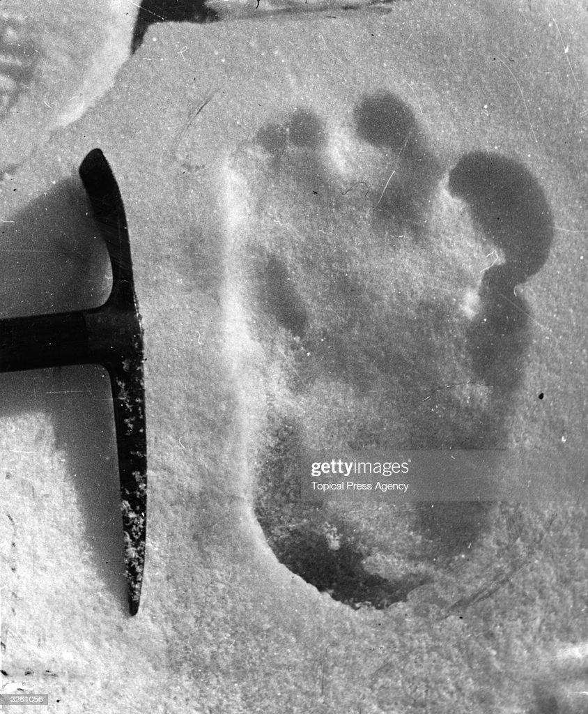 The footprint of the Abominable Snowman taken near Mount Everest