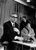 Labour Foreign Secretary George Brown ready to address a meeting with him is his wife