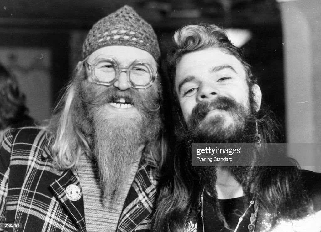 Viv Stanshall (left) and Roy Wood in the roles of Uncle Ernie and Local Lad during the stage recording of the musical 'Tommy'.