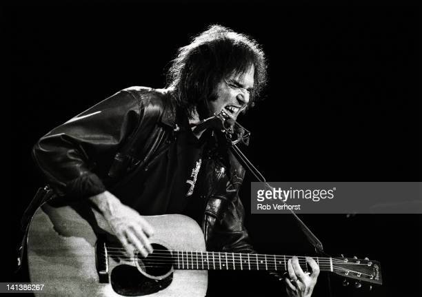 Canadian singersongwriter Neil Young performs live on stage at Ahoy in Rotterdam Netherlands on 13th December 1989